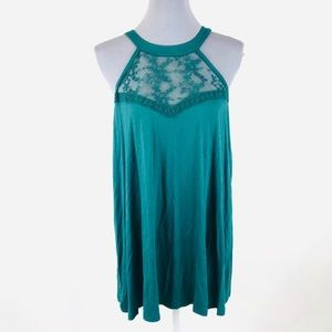 Torrid 0X green lace sleeveless stretchy blouse